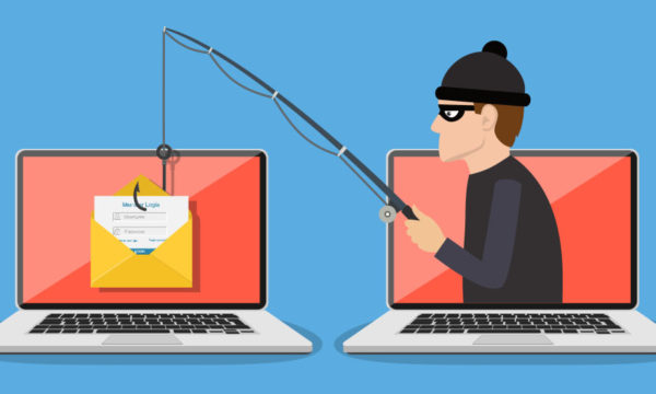 Illustration of a robber stealing information from a laptop